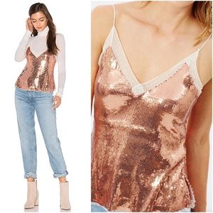 Free People Rose Gold Sassy Sequins Camisole
